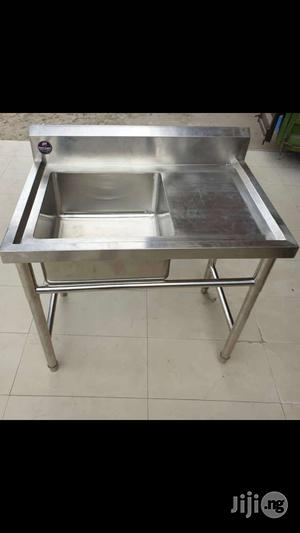 Single Bowl Industrial Washing Sink With Bench | Restaurant & Catering Equipment for sale in Lagos State, Ojo