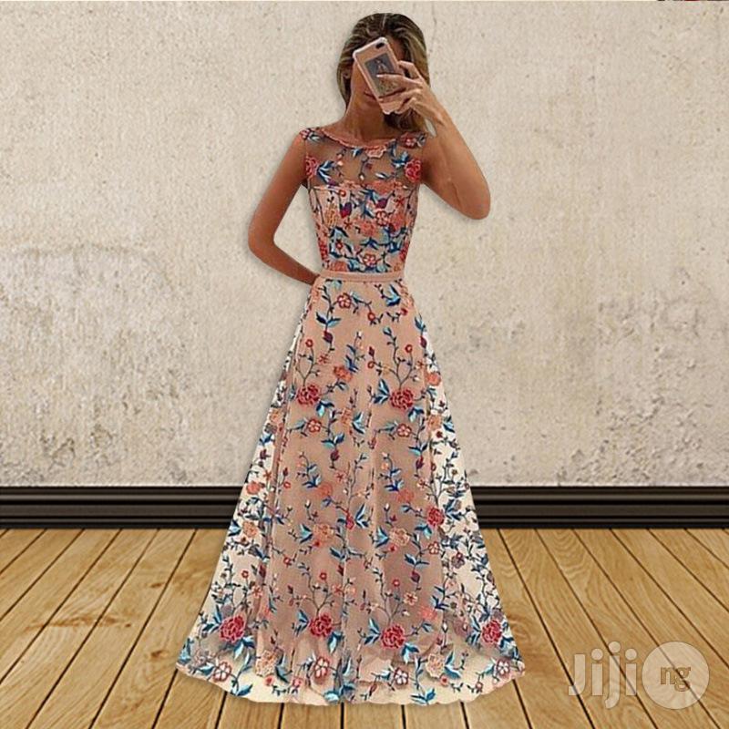 European Women Long Skirt Mesh Embroidery Dress