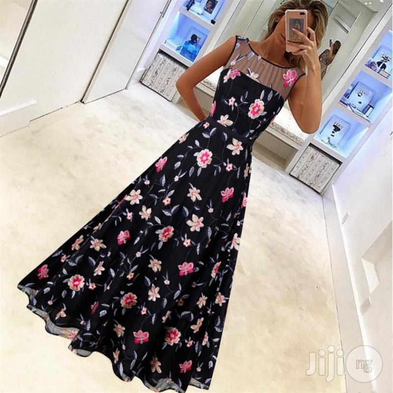 Luxury Retro High-end Dress Long Skirt Mesh Embroidery Dress