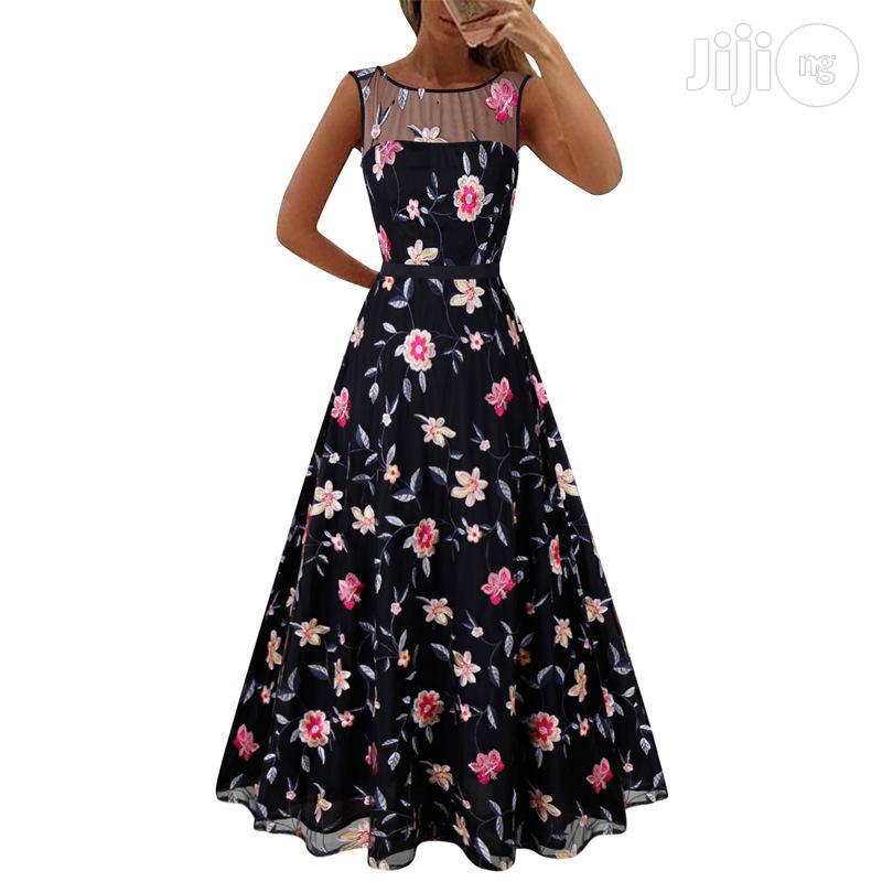 Black Women's Explosion High-end Long Skirt Mesh Embroidery Dress