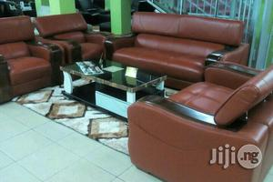 Burnt Orange Leather Sofa   Furniture for sale in Abuja (FCT) State, Wuse