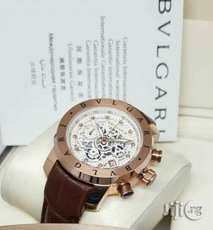 Bvlgari Chronograph Rose Gold Leather Strap Watch for Women's | Watches for sale in Lagos State, Lagos Island (Eko)