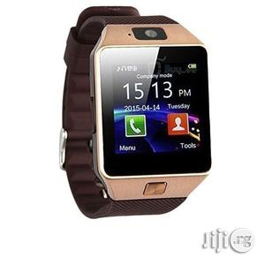 DZ09 Smartwatch Bluengle Sim Wrist Smart Watch- Rose Gold | Smart Watches & Trackers for sale in Lagos State, Magodo