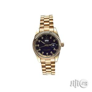 Men Gold Wrist Watch With Day and Date   Watches for sale in Lagos State, Yaba