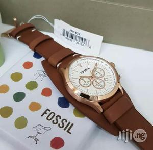 Fossil Chronograph Rose Gold Double Leather Strap Watch | Watches for sale in Lagos State, Lagos Island (Eko)