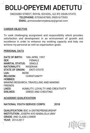 Teaching CV   Management CVs for sale in Edo State, Benin City