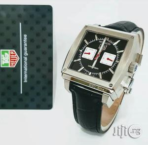 Tag Heuer Chronograph Double Time Silver Leather Strap Watch   Watches for sale in Lagos State, Lagos Island (Eko)