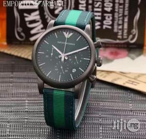 Emporio Armani Chronogragh Black Leather Strap Watch   Watches for sale in Lagos State, Lagos Island (Eko)