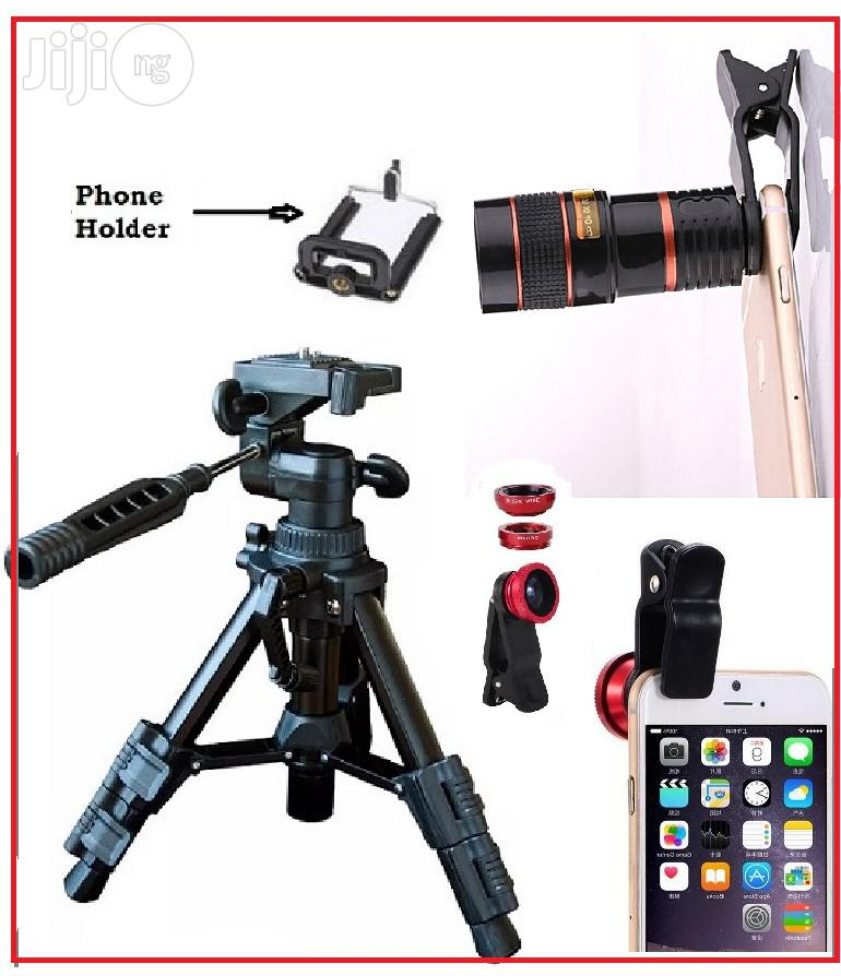 Portable Tripod Stand With Mobile Telescope and Selfie Ring Light
