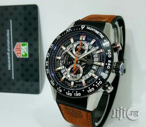Tag Heuer Chronograph Silver Black/Black Leather Strap Watch | Watches for sale in Lagos State, Lagos Island (Eko)