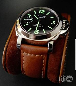 Luminor Panerai Silver Leather Strap Watch | Watches for sale in Lagos State, Lagos Island (Eko)