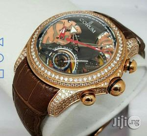 Corum Chronograph Full Ice Rose Gold Leather Strap Watch   Watches for sale in Lagos State, Lagos Island (Eko)
