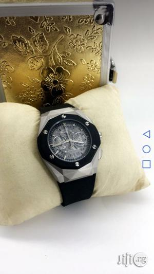Hublot Chronograph Silver/Black Rubber Strap Watch | Watches for sale in Lagos State, Lagos Island (Eko)