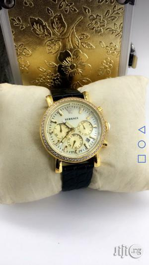 Versace Chronograph Gold Ice Head Leather Strap Watch   Watches for sale in Lagos State, Lagos Island (Eko)