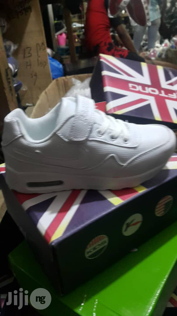 White Cut Canvas Sneakers For Kids