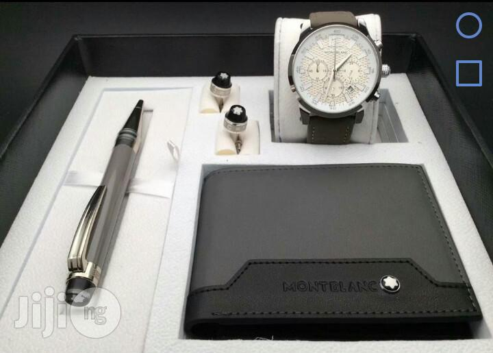 Montblanc Chronograph Silver Leather Strap Watch Set & Cufflinks/Pen For Men's