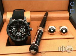 Montblanc Chronograph Black Leather Strap Watch Cufflinks/ Pen | Watches for sale in Lagos State, Lagos Island (Eko)