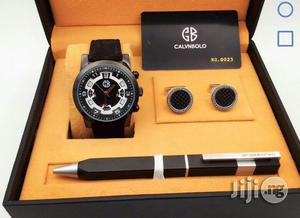 Calvnbolo Chronograph Black Leather Strap Watch Cufflinks/Pen | Watches for sale in Lagos State, Lagos Island (Eko)