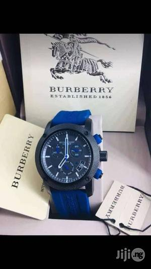 Burberry Chronograph Black Head Blue Rubber Strap Watch | Watches for sale in Lagos State, Lagos Island (Eko)