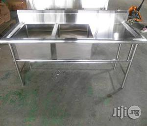 Double Industrial Sink With Work Table | Restaurant & Catering Equipment for sale in Lagos State, Ojo