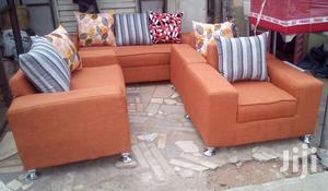 Complete of Sofa Chairs Couches - Orange Fabric Materials   Furniture for sale in Lagos State