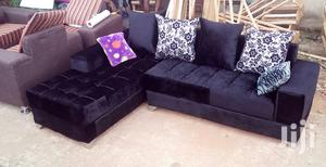 L-Shaped Sofa Chair. Black Suede, Free Throw Pillows | Furniture for sale in Lagos State, Ikeja