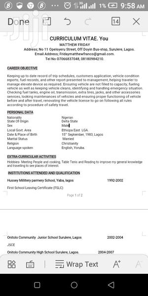 Driver CV   Driver CVs for sale in Delta State, Ethiope East