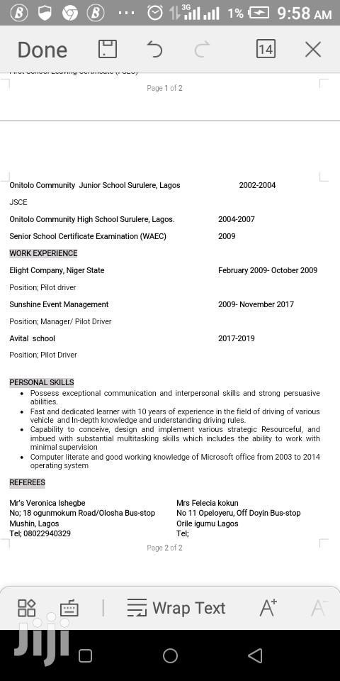 Driver CV   Driver CVs for sale in Ethiope East, Delta State, Nigeria