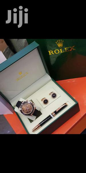 Rolex Daytona Rose Gold Leather Strap Watch And Pen And Cufflinks | Watches for sale in Lagos State, Lagos Island (Eko)