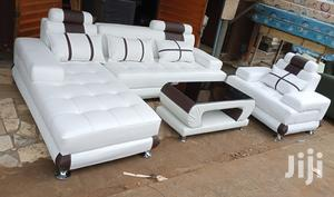 L-shaped Sofas, With A Single Chair And Centre Table. White Couches   Furniture for sale in Lagos State, Ipaja