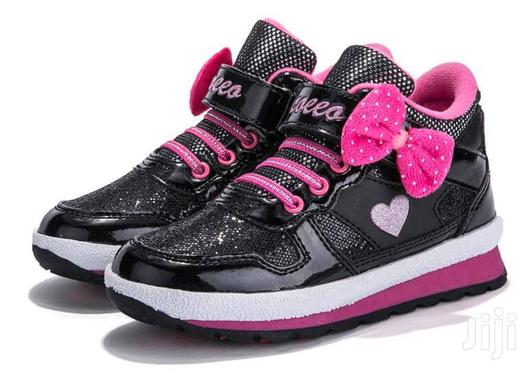Black and Pink High Top Canvas Sneakers for Girls