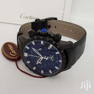 Cartier Chronograph Black Leather Strap Watch | Watches for sale in Lagos State, Lagos Island (Eko)