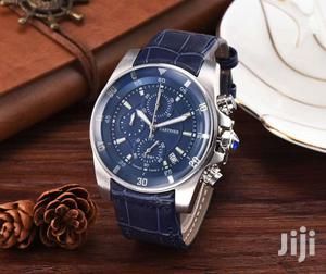 Cartier Chronograph Silver Blue Leather Strap Watch | Watches for sale in Lagos State, Lagos Island (Eko)