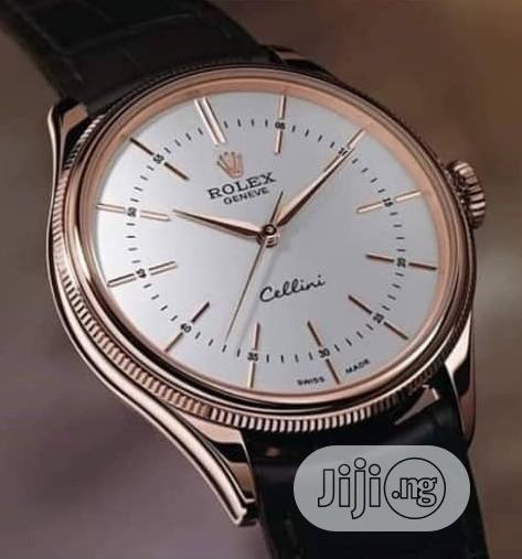 Rolex Rose Gold Leather Strap Watch for Unisex