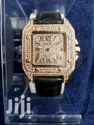 Cartier Rose Gold Face Black Leather Wristwatch | Watches for sale in Lagos State, Surulere
