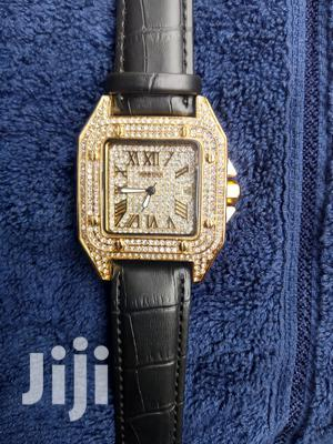 Cartier Gold Face Black Leather Wristwatch   Watches for sale in Lagos State, Surulere