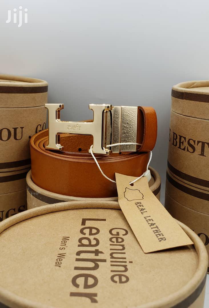 Hermes Brown Leather Belt For Men's