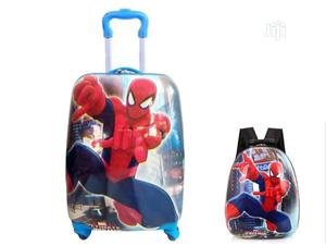 """2pcs/ Set Spider Man Child School Bag Luggage Suitcase 18""""-Blue 