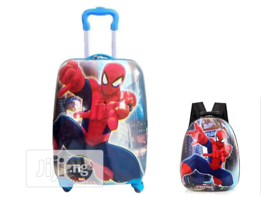 "2pcs/ Set Spider Man Child School Bag Luggage Suitcase 18""-Blue"