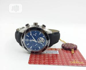 Omega Chronograph Silver/Black Leather Strap Watch | Watches for sale in Lagos State, Lagos Island (Eko)