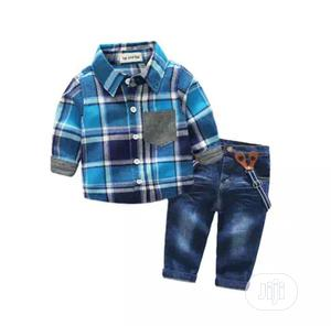 Boys 3 Piece Shirt Suspender And Jean Set | Children's Clothing for sale in Lagos State, Surulere