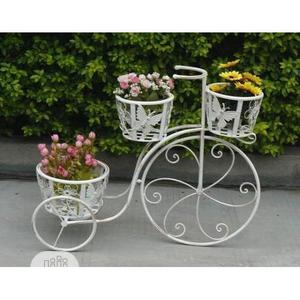 Decorative White Wrought Iron Tricycle Pot/Vase Holder On Sales | Manufacturing Services for sale in Abuja (FCT) State, Central Business District