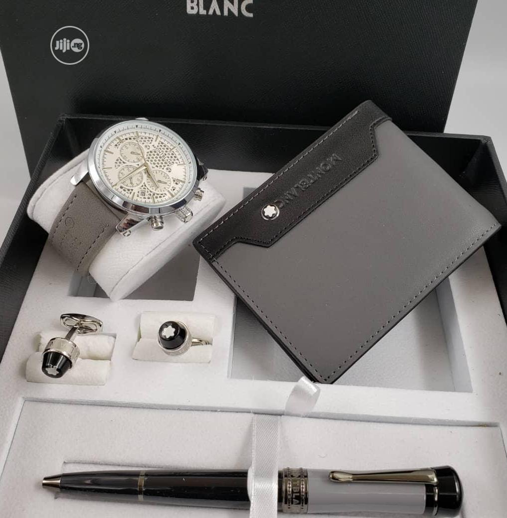 Montblanc Chronograph Silver Leather Strap Watch And Pen/Cufflinks