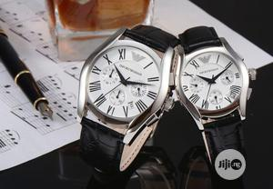 Emproio Armani Chronograph Silver Leather Strap Watch for Couple's | Watches for sale in Lagos State, Lagos Island (Eko)