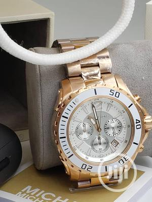 Micheal Kors Chronograph Rose Gold White Face Chain Watch | Watches for sale in Lagos State, Lagos Island (Eko)