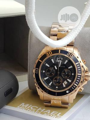 Micheal Kors Chronograph Rose Gold Black Face Chain Watch | Watches for sale in Lagos State, Lagos Island (Eko)