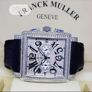 Franck Muller Chronograph Full Ice Silver Leather Strap Watch | Watches for sale in Lagos State, Lagos Island (Eko)