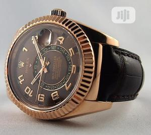 Rolex (SKY DWELLER) Rose Gold Leather Strap Watch | Watches for sale in Lagos State, Lagos Island (Eko)