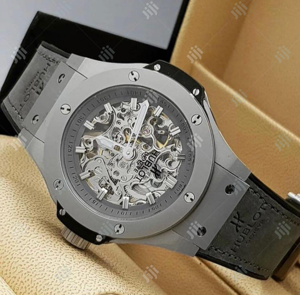 Hublot Chronograph Dull Silver Leather Strap Watch