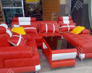 L-Shaped Leather Sofa With and Center Table With Free Throw Pillows | Furniture for sale in Lagos State, Ikeja